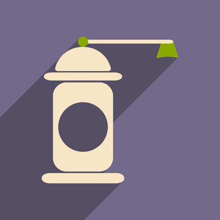 pepper grinder: Flat with shadow icon and mobile application pepper mill