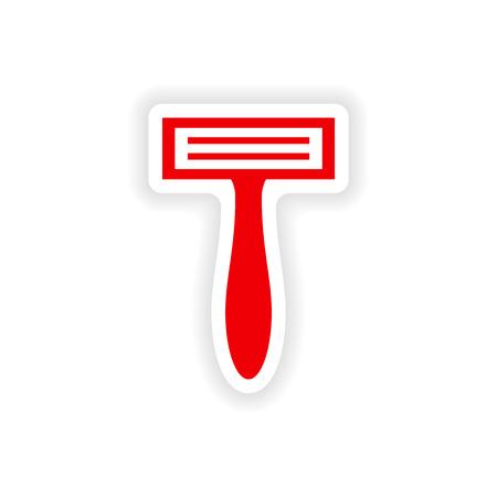 rasoio: icon sticker design realistico su carta rasoio Vettoriali