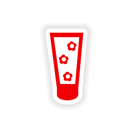 aftershave: icon sticker realistic design on paper hand cream Illustration