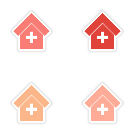 icon hospital: assembly realistic sticker design on paper hospital icon