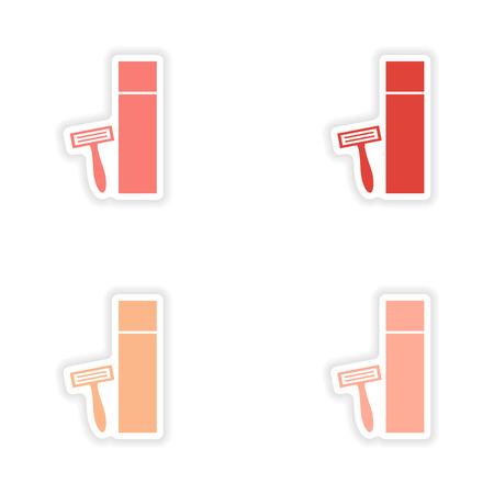 rasoir: conception d'autocollant ensemble r�aliste sur papier rasoir