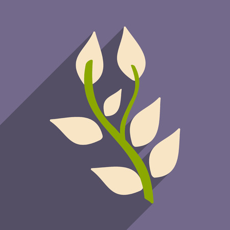 nettle: Flat with shadow icon and mobile application basil plant Illustration