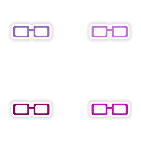 eyewear: assembly realistic sticker design on paper eyewear Illustration
