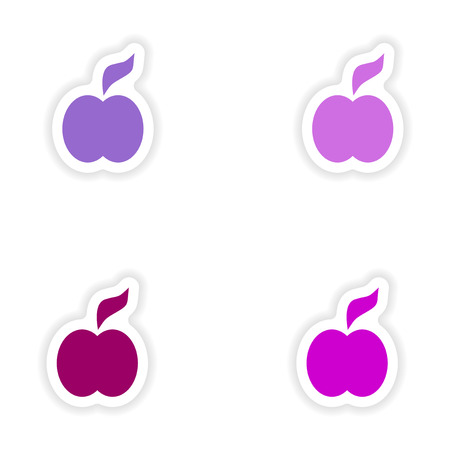 assembly: assembly realistic sticker design on paper apple