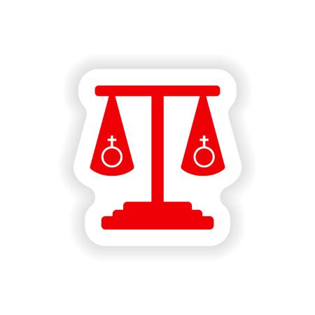 pictogram sticker realistische ontwerp op papier gelijkheid van de seksen Stock Illustratie