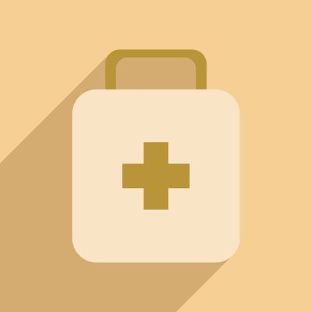 medicine chest: Flat with shadow icon and mobile application medicine chest