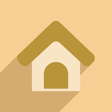 guard box: Flat with shadow icon and mobile application Booths for dogs