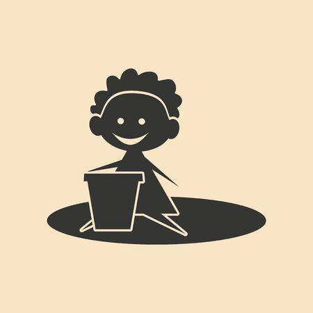 sandpit: Piso en aplicaci�n m�vil arenero infantil en blanco y negro