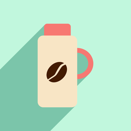 thermos: Flat with shadow icon and mobile application thermos