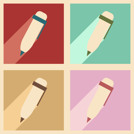 pen writing: Flat with shadow concept and mobile application pen writing