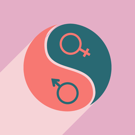 sex symbol: Flat with shadow icon and mobile application equality of the sexes Illustration