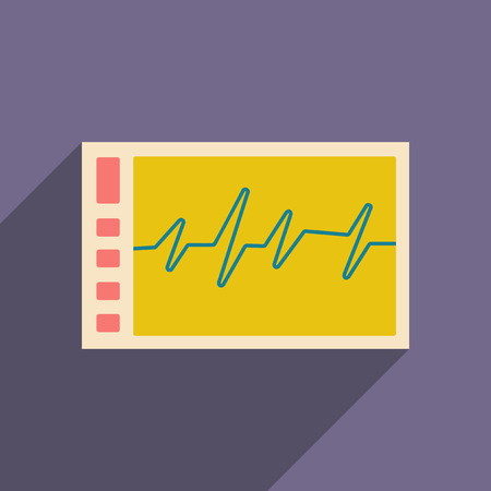 cardiogram: Flat with shadow icon and mobile applacation monitor cardiogram Illustration
