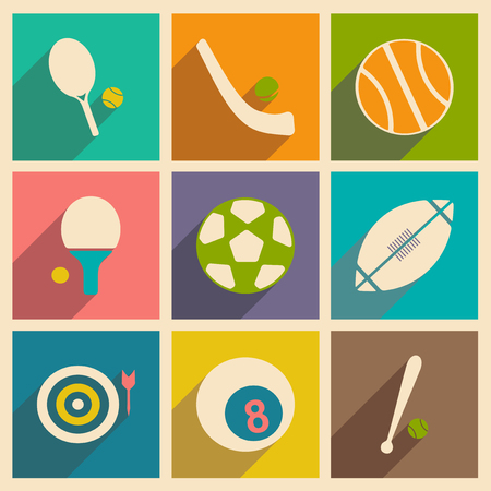 sports application: Flat with shadow concept and mobile application sports icons