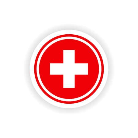 medicine logo: icon sticker realistic design on paper medicine logo