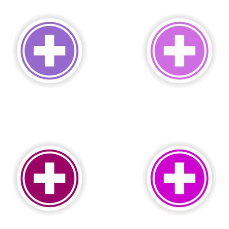 medicine logo: dise�o de etiqueta montaje realista en el logo medicina papel