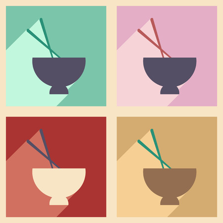 chineese: Flat with shadow concept and mobile application miso soup