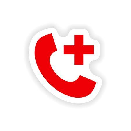 hotline: Symbol Aufkleber realistischen Design auf Papier Hotline Krankenhaus Illustration