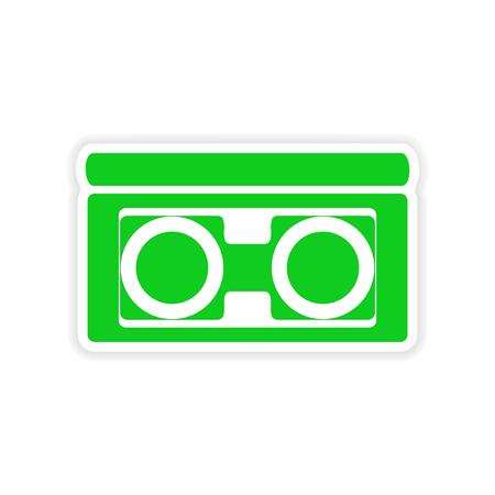 videocassette: diseño realista icono de etiqueta de cinta de vídeo de papel