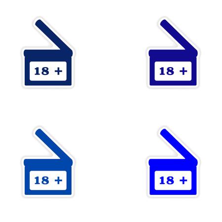clapperboard: assembly realistic sticker design on paper  Clapperboard Illustration