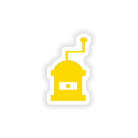 milling: icon sticker realistic design on paper coffee mill Illustration