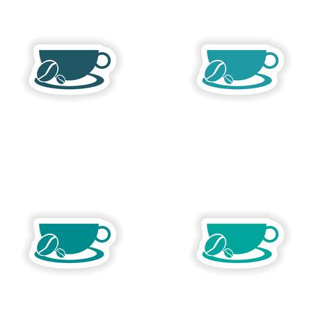demitasse: assembly realistic sticker design on paper demitasse Illustration