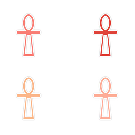 ankh cross: assembly realistic sticker design on paper ancient Egypt ankh