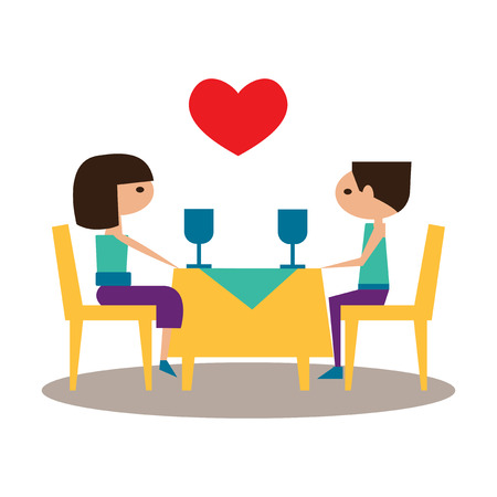 pareja comiendo: Flat con el icono de la sombra y la aplicación móvil cena romántica