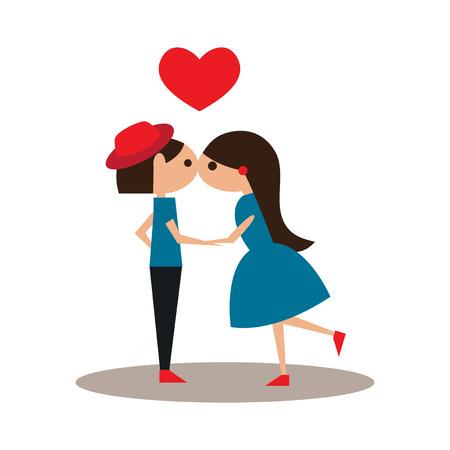 enamorados besandose: Flat con el icono de la sombra y el beso de aplicaciones m�viles