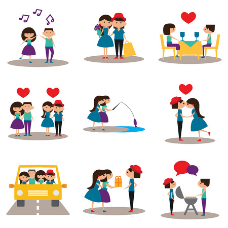 romantic sexy couple: Flat with shadow concept and mobile application relationship