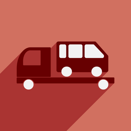 Flat with shadow icon and mobile application tow truck car