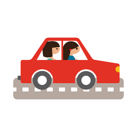 female driver: Flat with shadow icon and mobile application girl car Illustration
