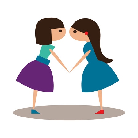 girlfriends: Flat with shadow icon and mobile application girlfriends