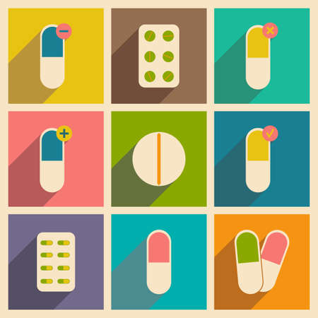 pharmaceutical: Flat with shadow concept and mobile application pharmaceutical drugs