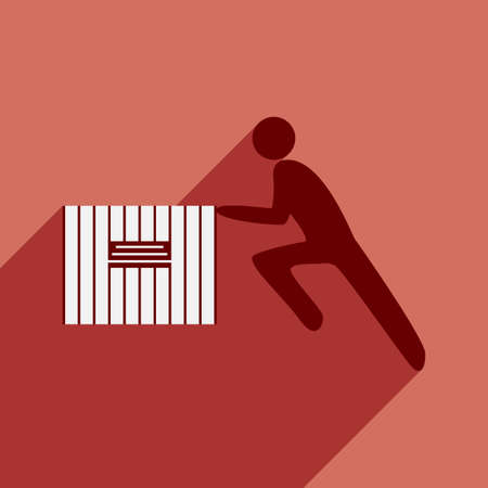 shadow people: Flat with shadow icon and mobile application people moving box Illustration