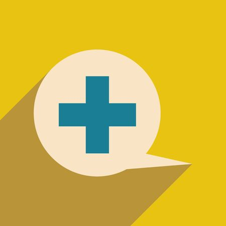 clinical psychology: Flat with shadow icon and mobile application logo medical consultation