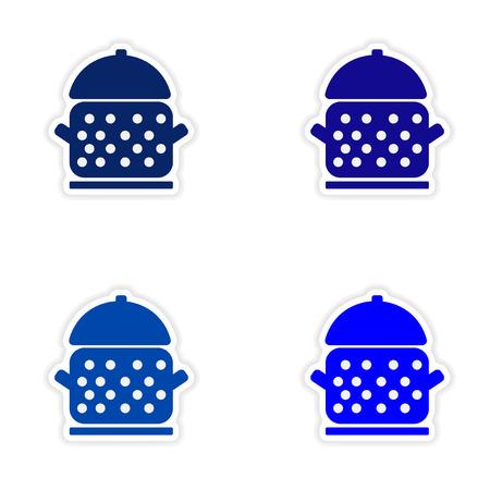 saucepan: assembly realistic sticker design on paper saucepan