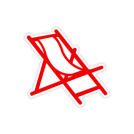 deck chair: icon sticker realistic design on paper deck chair
