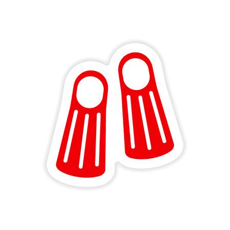 fins: icon sticker realistic design on paper diver fins