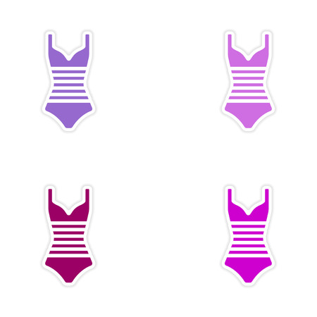 swim wear: assembly realistic sticker design on paper swimsuit Illustration