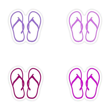 flip flops: assembly realistic sticker design on paper beach flip flops Illustration