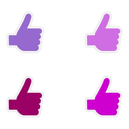 10 fingers: assembly realistic sticker design on paper hand finger Illustration