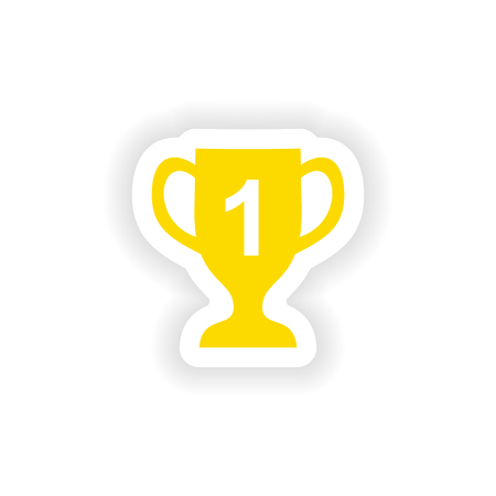 real trophy: icon sticker realistic design on paper cup winner