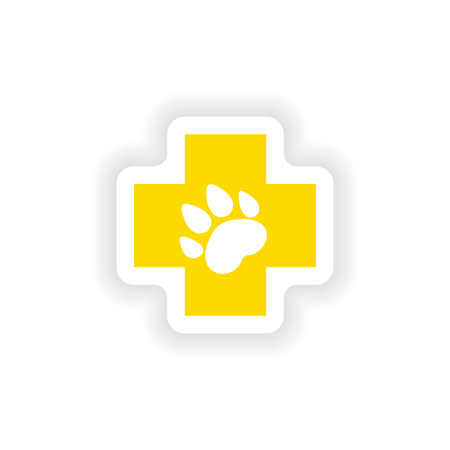 caduceus veterinary symbol: icon sticker realistic design on paper Veterinary Illustration