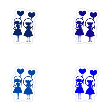 girlfriend: assembly realistic sticker design on paper girlfriend balloons