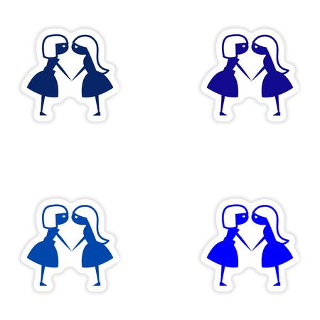 girlfriends: assembly realistic sticker design on paper girlfriends