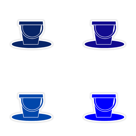 pail: assembly realistic sticker design on paper pail