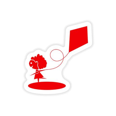 paper kite: icon sticker realistic design on paper Girl kite Illustration