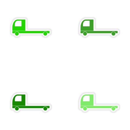 transport of goods: assembly realistic sticker design on paper trucks transport goods