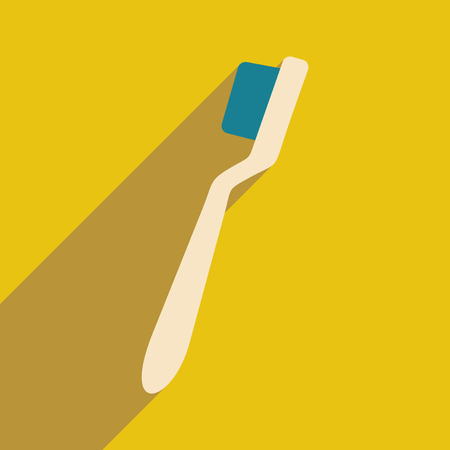 preening: Flat with shadow icon and mobile application Brush teeth Illustration