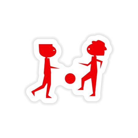 paper ball: icon sticker realistic design on paper ball boys